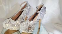 wedding photo - Wedding Brooch Shoes, Classic Diamond and Pearl Brooch shoes. Wedding shoes heels Crystals Bling Glamorous high heels