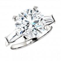wedding photo - 4 Carat Round Cut Harro Gem Moissanite & Tapered Baguette Diamond Engagement Ring, Moissanite Rings, Custom Jewelry, Handmade Rings - $4450.00 USD