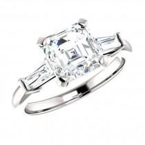 wedding photo - Raven Fine Jewelers, 1.80 Carat Asscher Cut Supernova Moissanite & Tapered Baguette Diamond Engagement Ring, Asscher Rings, Moissanite Rings, Handmade Rings - $2560.00 USD