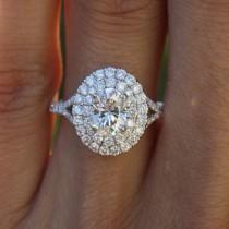 wedding photo - Raven Fine Jewelers, 1.00 Carat Oval Forever One Moissanite & Diamond Double Halo Split Shank Engagement Ring, Anniversary Rings, Moissanite Rings for Women, 1ct - $2975.00 USD