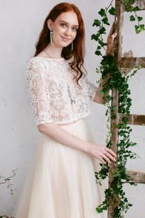 wedding photo - Wedding Top Lace, Wedding Separates  Top,  Ivory Off White  Lace Top, Wedding Blouse, Bridal Separates, Wedding Crop Top  -ASTRID