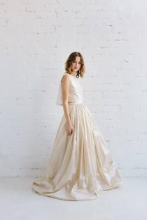 wedding photo - Wedding Dress, Bridal Separates, Two Piece Wedding Dress, Silk Wedding Dress , Silk Gown , Wedding Separates , Taffeta Gown -  LAYLA