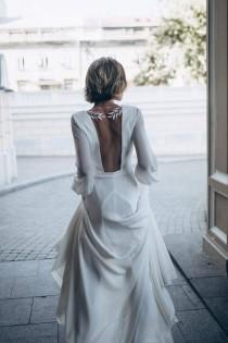 wedding photo - Ivory Crepe Open Back Wedding Dress and Handmade Embellishments, Long Sleeve Wedding Dress with Train L18, Beach Wedding Dress, Bridal