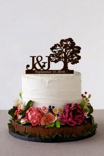 wedding photo - Tree Wedding cake topper Personalized Monogram Wedding Cake Topper Rustic Wedding Cake Topper