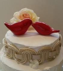 wedding photo - Bird Wedding Cake Topper Red Love Birds Original Design Ceramic Home Decor Wedding Keepsake, Wedding Favor