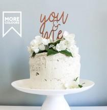 wedding photo - You & Me Anniversary Cake Topper, Script Cake Topper, Wooden Cake Topper, Wedding Cake Toppers, Anniversay, Wedding Cake Decor