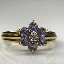 wedding photo - Vintage Tanzanite Ring. Diamond Accent. 10k Yellow Gold. Estate Jewelry. Unique Engagement Ring. December Birthstone. 24th Anniversary Gift
