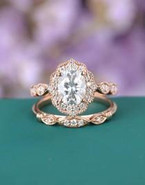 wedding photo - Vintage engagement ring Rose gold Antique Art deco Moissanite Oval Milgrain set diamond Wedding Women bridal Half eternity Anniversary gift