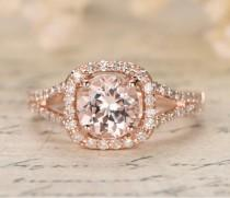 wedding photo - Limited Time Sale 1.25 carat Morganite and Diamond Halo Engagement Ring in 10k Rose Gold for Women