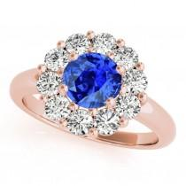 wedding photo - 1.90Ct. Halo Tanzanite And Diamond Engagement Wedding  Ring In 10K Gold