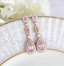 wedding photo - Rose Gold earrings, Bridal earrings, Bridal jewelry, Long earrings, Teardrop Wedding earrings, Bridesmaid earrings, Crystal Dangle earrings