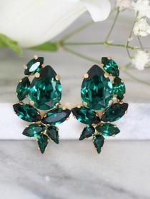wedding photo - Emerald Earrings, Emerald Swarovski Cluster Earrings, Bridal Emerald Earrings, Bridesmaids Earrings, Emerald Crystal Earrings, Gift for her