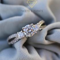 wedding photo - Past Present Future Three Stone Engagement Ring, Bridal Ring, Wedding Ring Promise Ring Man Made Lab Created Diamond Simulant 14k White Gold