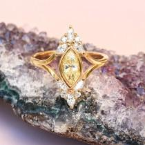 wedding photo -  Unique Engagement Marquise Diamond Ring - Vintage, Art Deco , Cluster Diamond Ring, 14K Yellow Gold, Ring Size 7 - $2365.00 USD