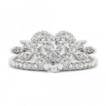 wedding photo -  Love Blossom Heart Shaped Diamond Ring with Matching 2mm Eternity Diamond Band , Bridal Engagement Diamond Wedding Ring set - 1.5 carat - $3490.00 USD