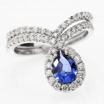 """wedding photo -  Blue Sapphire Peare Shaped Diamond Wedding Engagement Ring Set - """"Bliss&quot - Gemstone Blue Engagement Ring- Handmade by Silly Shiny - $2200.00 USD"""