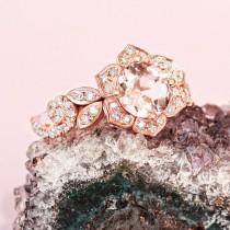 wedding photo -  Lily Rose Flower Ring, Wave Diamond Ring, Morganite Gold Ring, Unique Engagement Ring, Flower Engagement Ring - $1285.00 USD