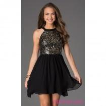 wedding photo - Short Sleeveless Sequin Embellished Dress - Brand Prom Dresses