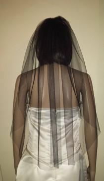 "wedding photo - Black veil 30"" 1 Tier Gothic  wedding veil Cut edged. FREE UK POSTAGE"