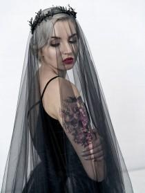 wedding photo - Black bridal veil, circle drop veil, alternative bridal veil, goth bride veil, black wedding veil, circular veil, unique bridal hairpiece