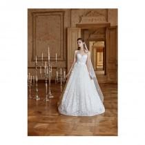 wedding photo - Tarik Ediz 2017 G2064 Ivory Sweet Sweep Train Illusion Ball Gown Sleeveless Lace Hand-made Flowers Wedding Dress - Bridesmaid Dress Online Shop