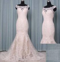 wedding photo - Lace Wedding Dress Mermaid Illusion Neckline,Champagne Wedding Dress Boat Neck,Bridal Dressing Gown,Bridal Gown Sleeves,Custom Wedding Dress