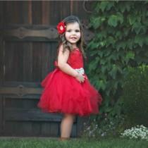 wedding photo - Red flower girl dress, Flower girl dresses, flower girl dress lace, rustic flower girl dress, Red Christmas dress, baby dress, tulle dress