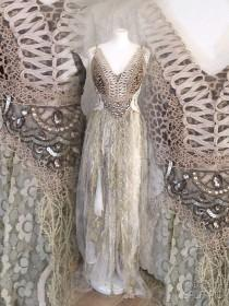 wedding photo - Wedding dress leopard,bridal gown for mermaids, Empire cut wedding dress for fairy, mermaid wedding dress, rawrags,empire cut wedding dress