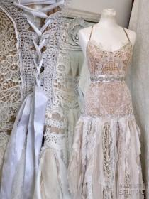 wedding photo - Boho wedding dress tattered ,bridal gown tattered,pagan wedding dress,wedding dress RawRags,wedding dress crochet,fairy wedding,antique lace