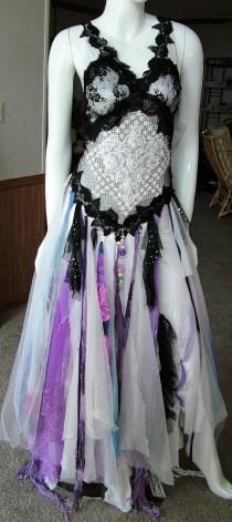 wedding photo - Renaissance fair wedding dress alternate shabby tattered other event dress Size 5 - 10. Black white purple