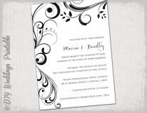 "wedding photo - Wedding invitation templates black and white ""Scroll"" invitations -YOU EDIT printable invite -digital Word template/ JPG Instant Download"