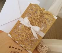 wedding photo - Gold Wedding invitation. Glitter wedding invitation. Elegant wedding invitation. 50 LASERCUT invitations Gold wedding invites Disney wedding