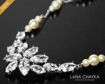 wedding photo - Wedding Statement Necklace, Ivory Pearl CZ Bridal Necklace, Swarovski Pearl Sterling Silver Dainty Necklace, Bridal Jewelry, Wedding Jewelry - $36.00 USD