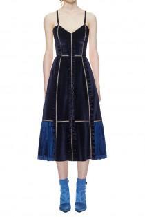 wedding photo - Self Portrait Velvet Panelled Midi Dress In Midnight Blue