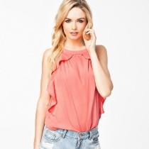 wedding photo - Street Style Oversized Frilled Scoop Neck Chiffon Accessories One Color Sleeveless Top - Bonny YZOZO Boutique Store