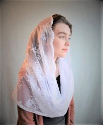 wedding photo - Traditional Catholic Infinity White Catholic Chapel Veil