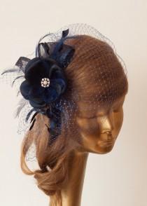 wedding photo - Navy Blue BIRDCAGE VEIL with Flower and Rhinestone Brooch.Fascinator with Veil