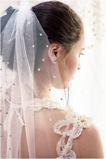 wedding photo - Beautiful wedding veil with crystals . white veil, ivory veil, Elbow veil. FREE SHIPPING!