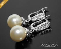 wedding photo - Pearl Bridal Earrings, Swarovski 10mm Ivory Pearl Sterling Silver Earrings, Pearl Leverback Earrings, Bridal Pearl Jewelry, Wedding Jewelry - $31.90 USD