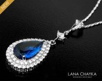 wedding photo - Bridal Blue Cubic Zirconia Halo Necklace Royal Blue Crystal Silver Necklace Wedding Dark Blue CZ Necklace Bridal Blue Pendant Prom Necklace - $32.50 USD