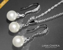 wedding photo - White Pearl Earrings and Necklace Set STERLING SILVER Cz White Drop Pearl Set Swarovski 8mm Pearl Necklace&Earring Set Small Pearl Set - $42.00 USD