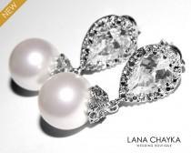 wedding photo - White Pearl Bridal Earrings Swarovski 10mm White Drop Pearl Cubic Zirconia Wedding Earrings White Pearl Bridal Earrings Pearl Bridal Jewelry - $27.00 USD