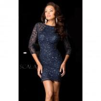 wedding photo - Navy Embellished Long Sleeved Dress by Scala Couture - Color Your Classy Wardrobe