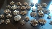 wedding photo - 10 pcs Assorted New GOLD or SILVER Rhinestone Button Brooch Embellishment Pearl Crystal Button Wedding Brooch Bouquet Cake Hair Comb