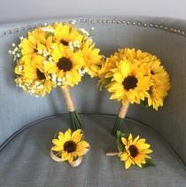 wedding photo - Customize Sunflower Bouquet, Sunflower Bouquet, Sunflower Bridal Bouquet, Sunflower Bridesmaid Bouquet, Sunflower Wedding, Sunflower Babys B