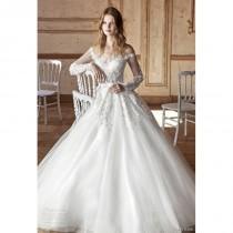 wedding photo - Tarik Ediz 2017 G2059 Illusion Ball Gown Ivory Court Train Sweet Long Sleeves Appliques Tulle Wedding Gown - 2018 Unique Wedding Shop