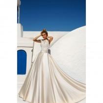 wedding photo - Eva Lendel 2017 Talia Champagne Scoop Neck Ball Gown Split Sleeveless Detachable Satin Embroidery Wedding Gown - Bridesmaid Dress Online Shop