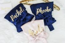 wedding photo - Bridesmaid Robes With Back Personalization. Bridesmaid Gifts. Bride Robe. Bridesmaid Robes. Solid Robe. Wedding Gifts. Satin Robe.