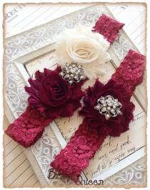 wedding photo - Lace Wedding Garter Set, Vintage Garter, Lace Garter, Bridal Garter Set, Garter - Burgundy lace, Wine and Cream Flower Garter Set