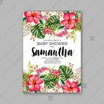 wedding photo - Baby shower floral invitation with hibiscus flower and tropical leaves, watercolor flower wreath